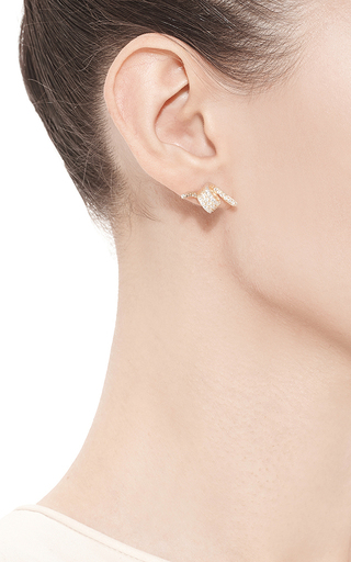 Gold Plated Pave Barbed Wire Stud Earrings by FALLON Now Available on Moda Operandi