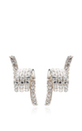Rhodium Plated Pave Barbed Wire Stud Earrings by FALLON Now Available on Moda Operandi