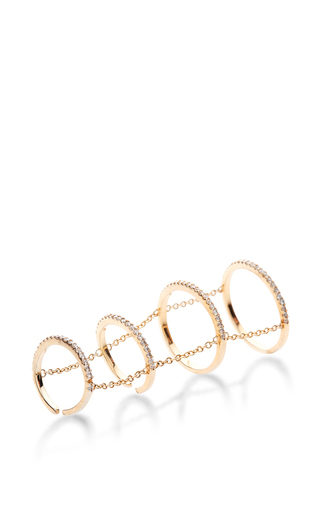 Medium fallon gold 4 tier pave slice rings