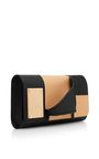 Asymmetric Nude And Black Leather Glove Clutch by PERRIN PARIS Now Available on Moda Operandi