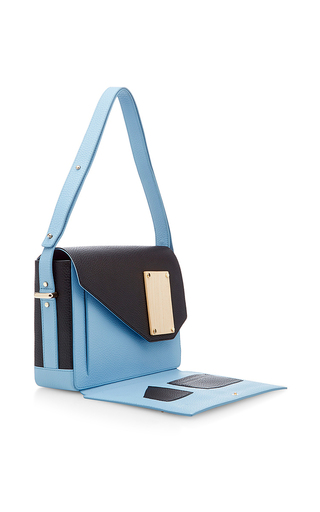 Carre Blue Leather Shoulder Bag by PERRIN PARIS Now Available on Moda Operandi