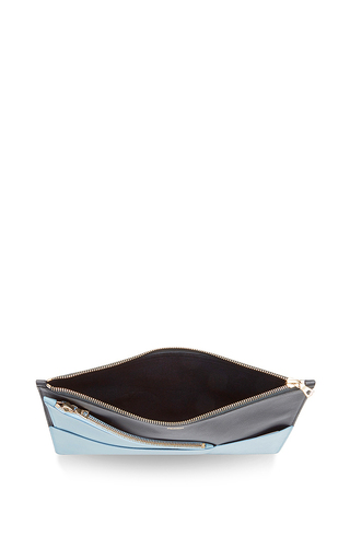 Grande Leather Enveloppe In Blue And Black by PERRIN PARIS Now Available on Moda Operandi