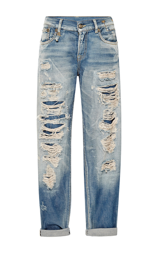 Medium r13 denim medium wash selvedge blue shredded relaxed skinny jeans