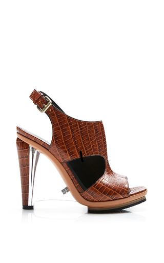 Embossed Crocodile Leather Sandal With Clear Lucite Wedge by RODARTE Now Available on Moda Operandi