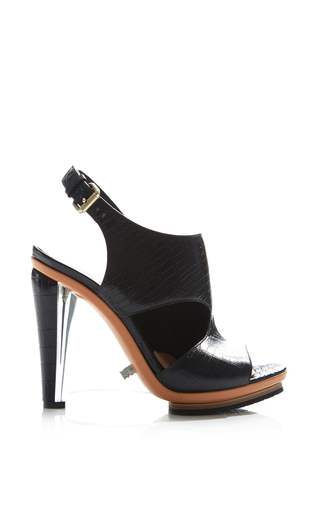Medium rodarte black embossed black crocodile leather sandal with clear lucite wedge