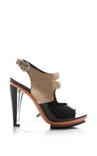 Medium rodarte metallic patent leather and metallic sandal with lucite wedge