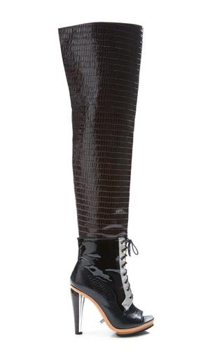 Medium rodarte brown brown embossed crocodile over the knee boot
