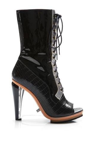 Medium rodarte black embossed crocodile leather lace up boot with lucite heel