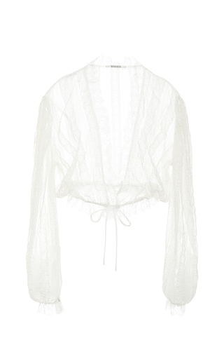 Medium rodarte white natural ruffled lace blouse with cinched waist