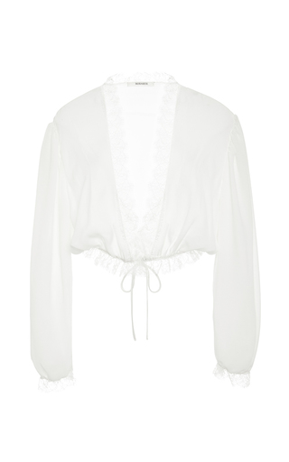 Medium rodarte white off white ruffled lace blouse with cinched waist