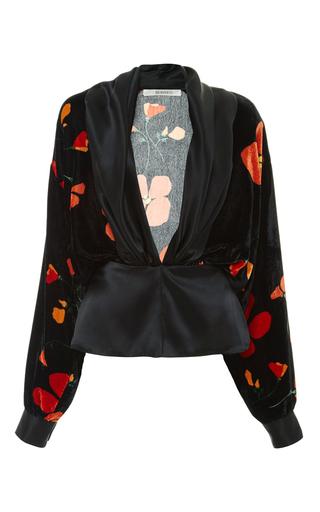 Medium rodarte print draped blouse with poppy printed velvet