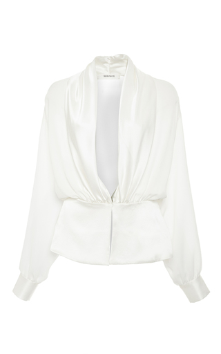 Medium rodarte white silk georgette and satin draped blouse