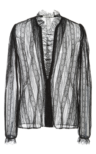 Black Lace Blouse With Ruffle Trim by RODARTE Now Available on Moda Operandi