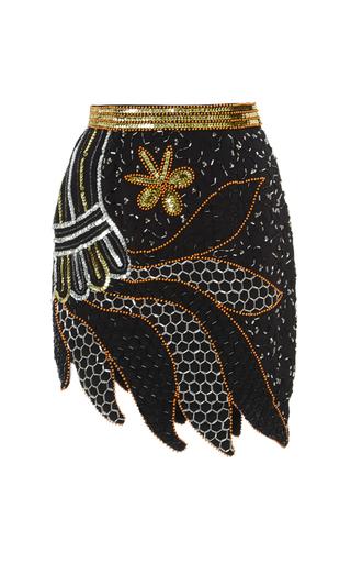 Medium rodarte black silver and gold hand beaded skirt