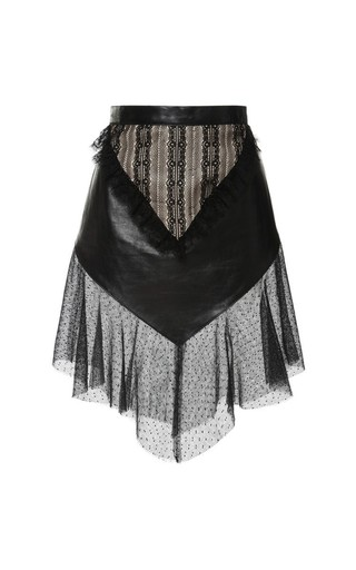 Black Leather And Lace Fitted Ruffle Skirt by RODARTE Now Available on Moda Operandi
