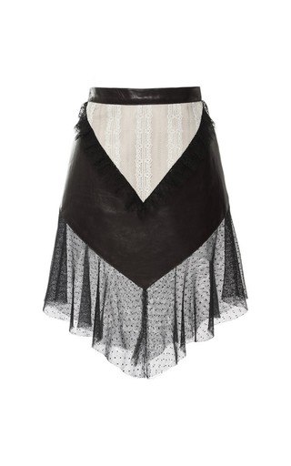 Medium rodarte brown brown leather and lace fitted ruffle skirt