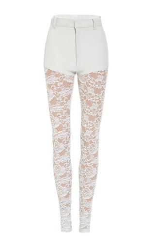 Medium rodarte white white stretch leather pants with lace legs