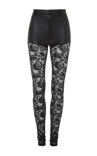Medium rodarte black black stretch leather pants with lace legs
