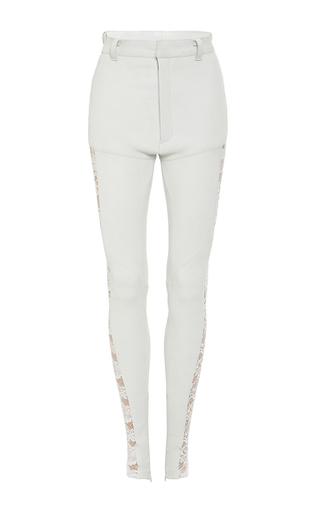 Medium rodarte white white stretch leather pants with lace side seams