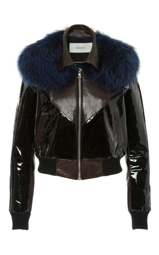 Medium rodarte brown leather bomber jacket with blue fox fur collar