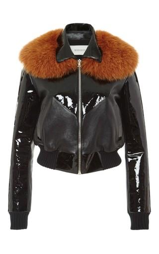 Medium rodarte black leather bomber jacket with yellow fox fur collar