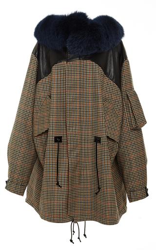 Medium rodarte brown wool tweed and leather anorak with blue fox fur collar
