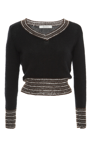 Black And Gold Metallic Cashmere Rib Knit Sweater by RODARTE Now Available on Moda Operandi