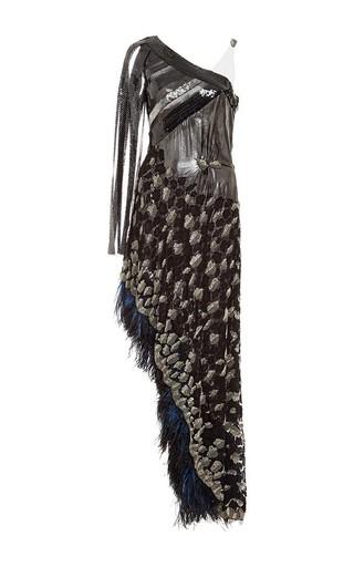 Medium rodarte black hand beaded sequin dress with ostrich feather trim