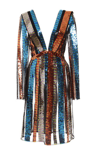 Medium rodarte multi variegated sequin striped long sleeve dress