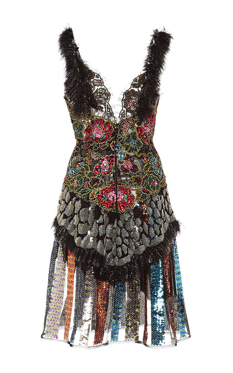 beaded lace and sequin stripe dress with feather