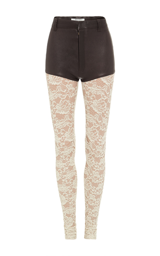 Medium rodarte brown brown stretch leather pants with lace legs
