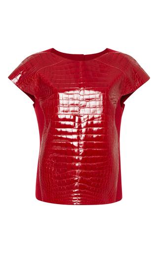 Medium carolina herrera red alligator front blouse