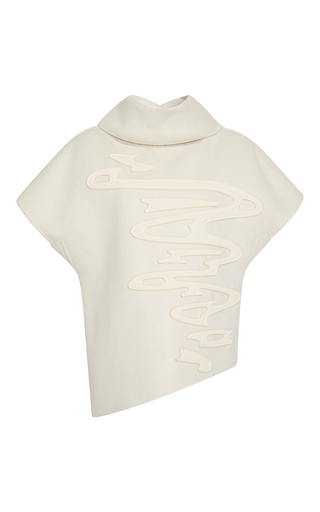 Medium carolina herrera white cashmere doubleface swirl blouse