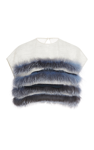 Medium carolina herrera dark grey wool mesh fox fur top