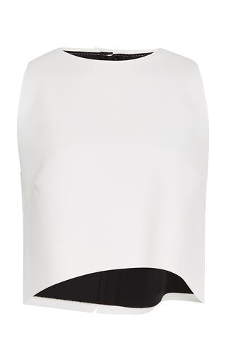 Medium carolina herrera white wave techno jersey blouse