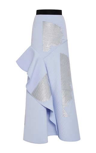 Medium carolina herrera blue wave techno jersey skirt