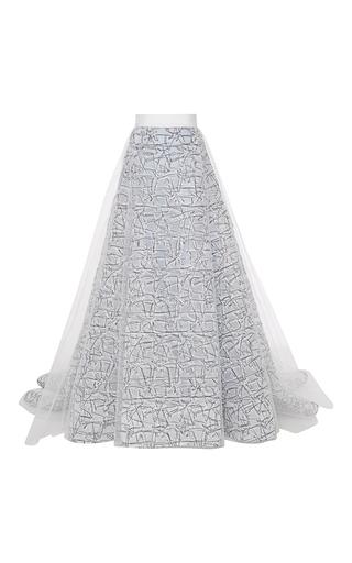 Medium carolina herrera white scribble embroidered ball skirt