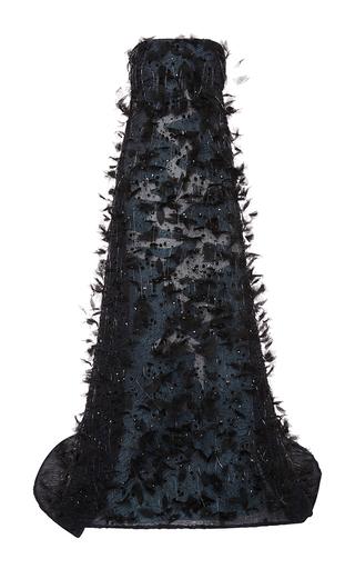 Medium carolina herrera blue embroidered strapless gown