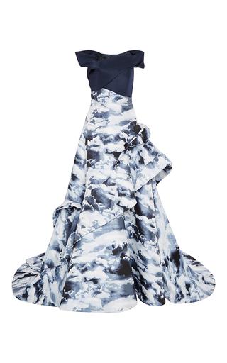 Medium carolina herrera blue clouds jacquard wave gown