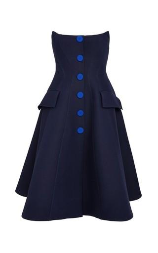 Medium derek lam blue strapless button front dress