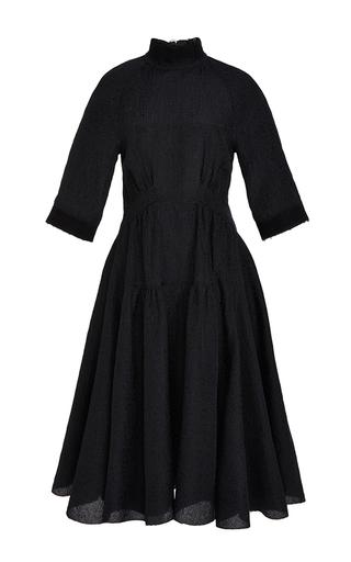 Medium derek lam blue gazar plisse short sleeve dress