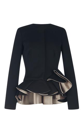 Medium antonio berardi black collarless black jacket with contrast stone ruffle