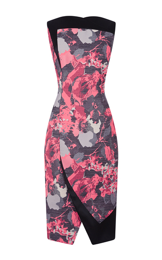 Medium antonio berardi print pink floral jacquard wrap effect sheath dress