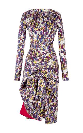 Medium antonio berardi print electric blue drape front sheath dress