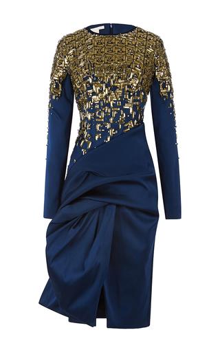 Medium antonio berardi green embroidered drape wrap effect dress