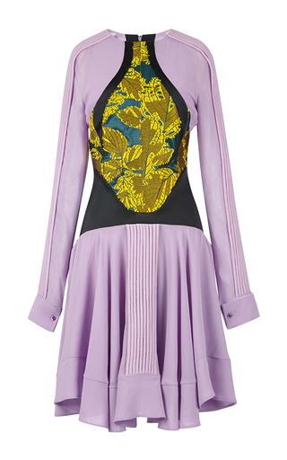 Medium antonio berardi multi lilac long sleeve dress with leaf jacquard detail