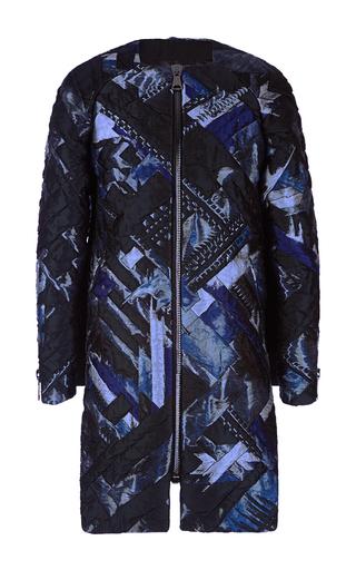 Medium antonio berardi print metallic patchwork collarless coat