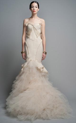 Medium zac posen ivory ruffle evening gown