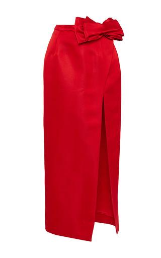 Origami Bow Slit Midi Skirt by KATIE ERMILIO Now Available on Moda Operandi