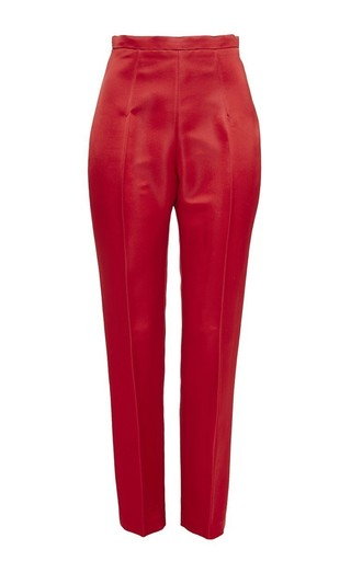 Red Pressed Crease Matchstick Pant by KATIE ERMILIO Now Available on Moda Operandi